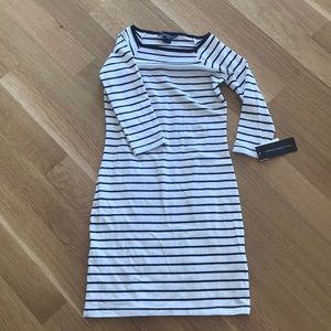 French connection striped, fitted dress.
